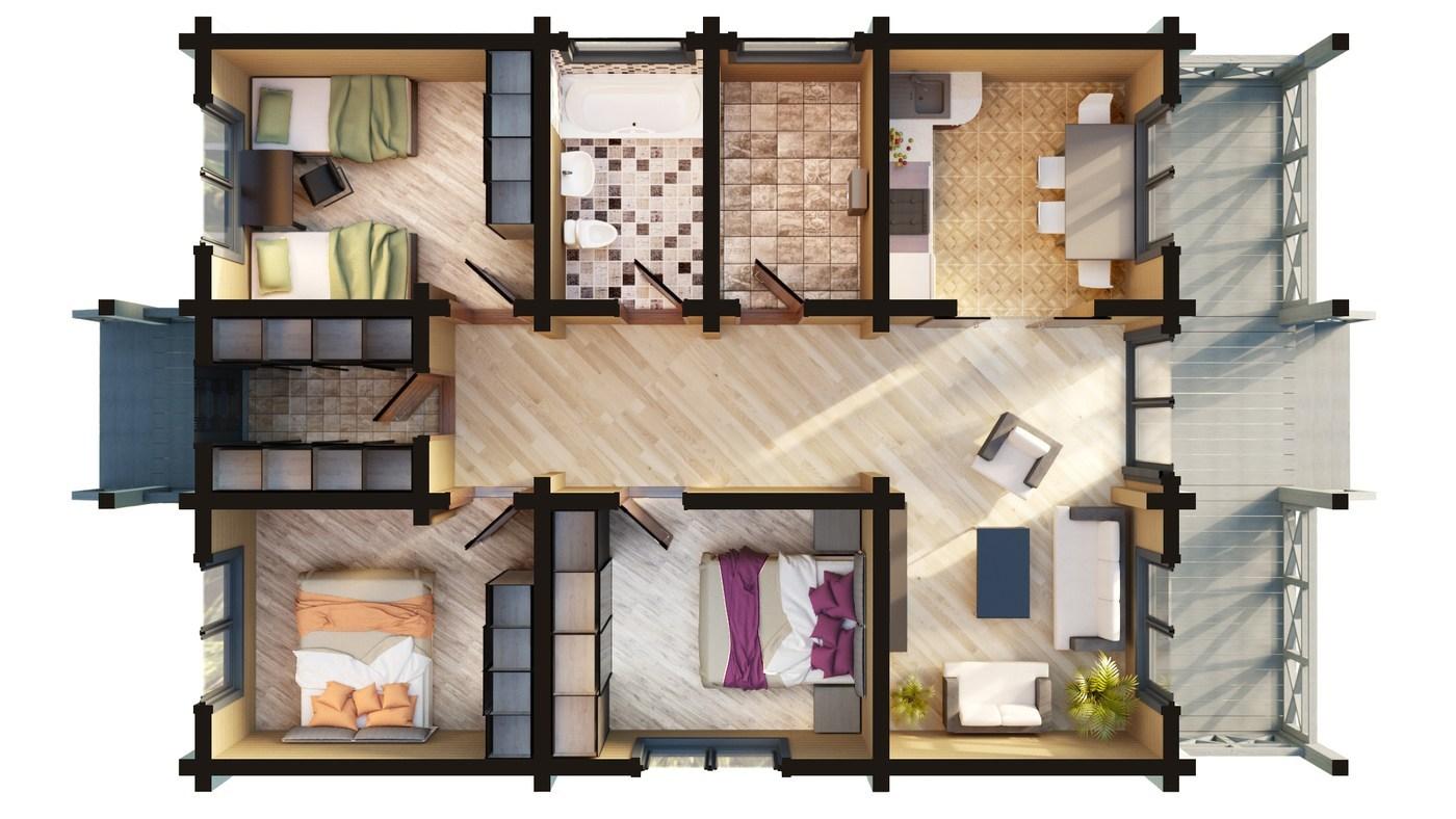 Tipico progetto di casa in legno lamellare impiallacciato - Progetto casa 120 mq ...