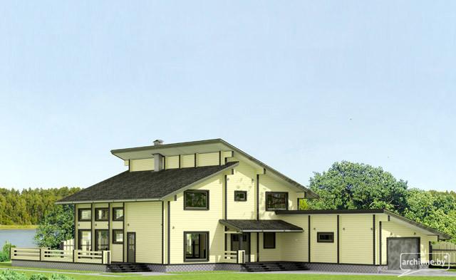 una casa ampia in legno lamellare con un garage 405 m2