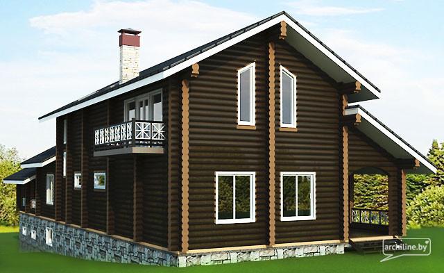 Una grande casa di legno di tronchi 440 m2 for Piani di cabina di tronchi di 2 camere da letto