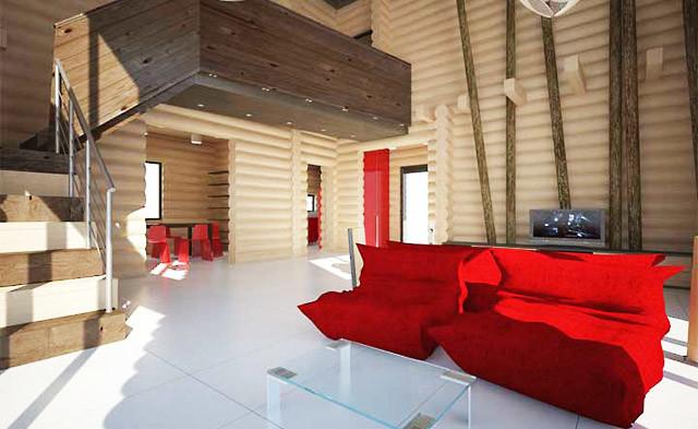 Una casa a tre piani in tronchi 214 m2 for Casa a tre piani