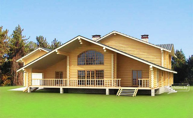 Il cottage in legno di tronchi 327 m2 for Una casa di tronchi con garage annesso