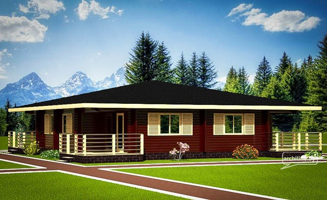 Un solo piano casa in legno 2 127 m2 for Progetti di case moderne a un solo piano