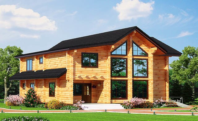 Una casa di tronchi di legno 215 m2 for Piani casa in vendita con il costo per costruire