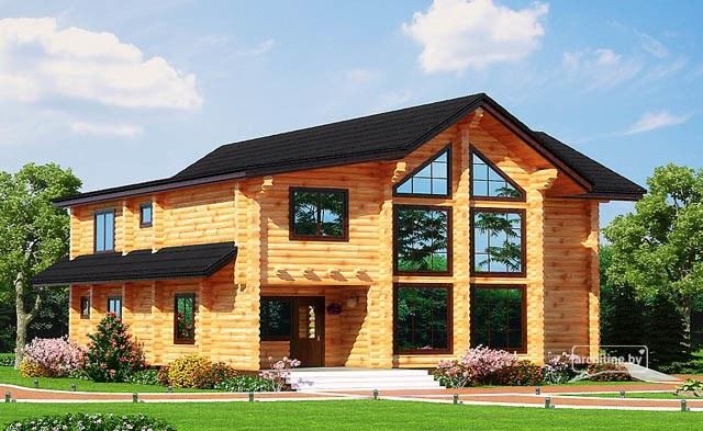 una casa di tronchi di legno 215 m2