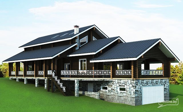 Una grande casa di legno di tronchi 440 m2 for Due piani un garage per auto